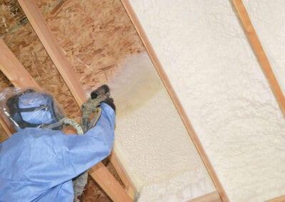 Austin Company   open cell spray foam in ceiling